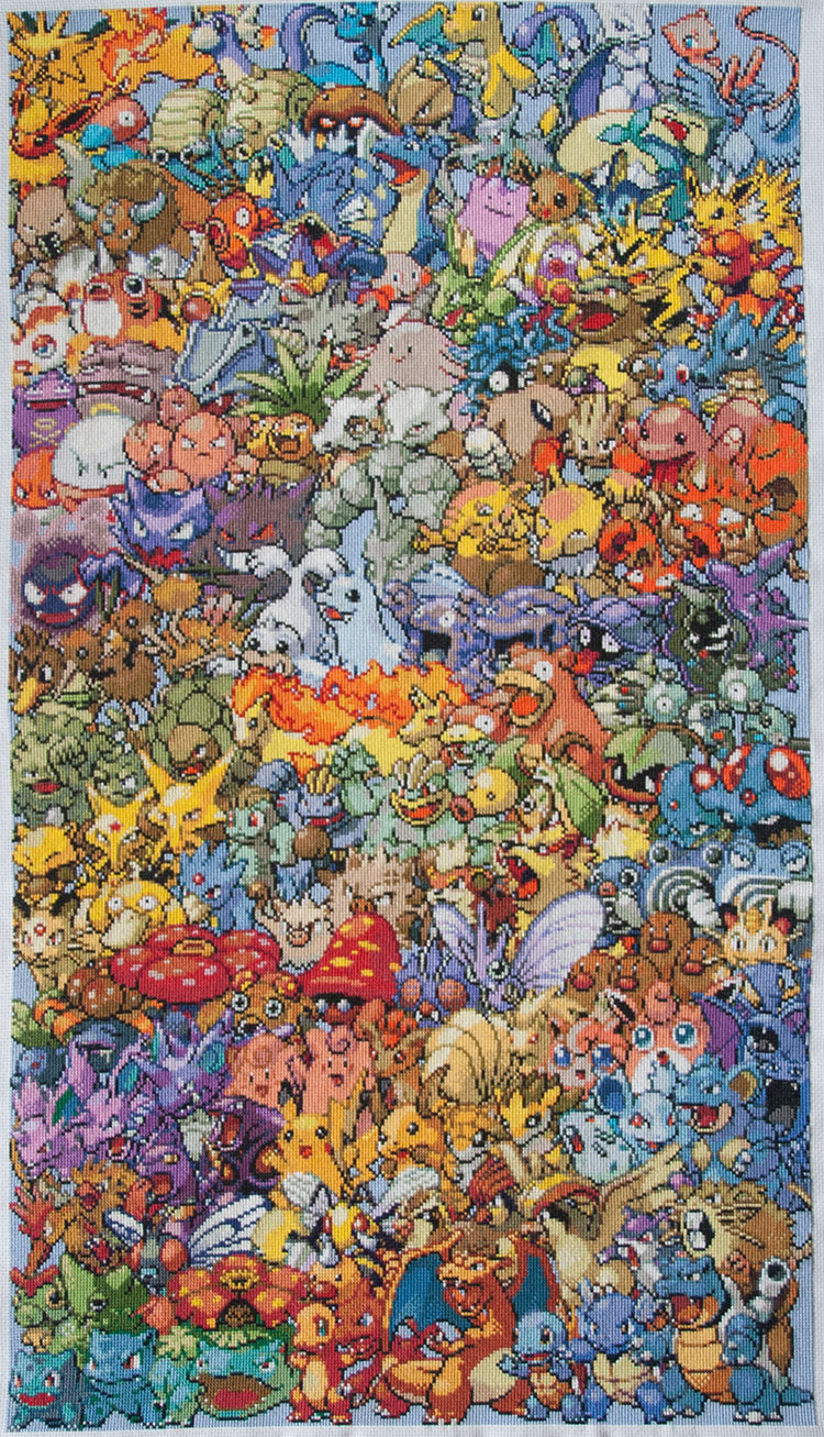 Pokemon cross-stich close-up